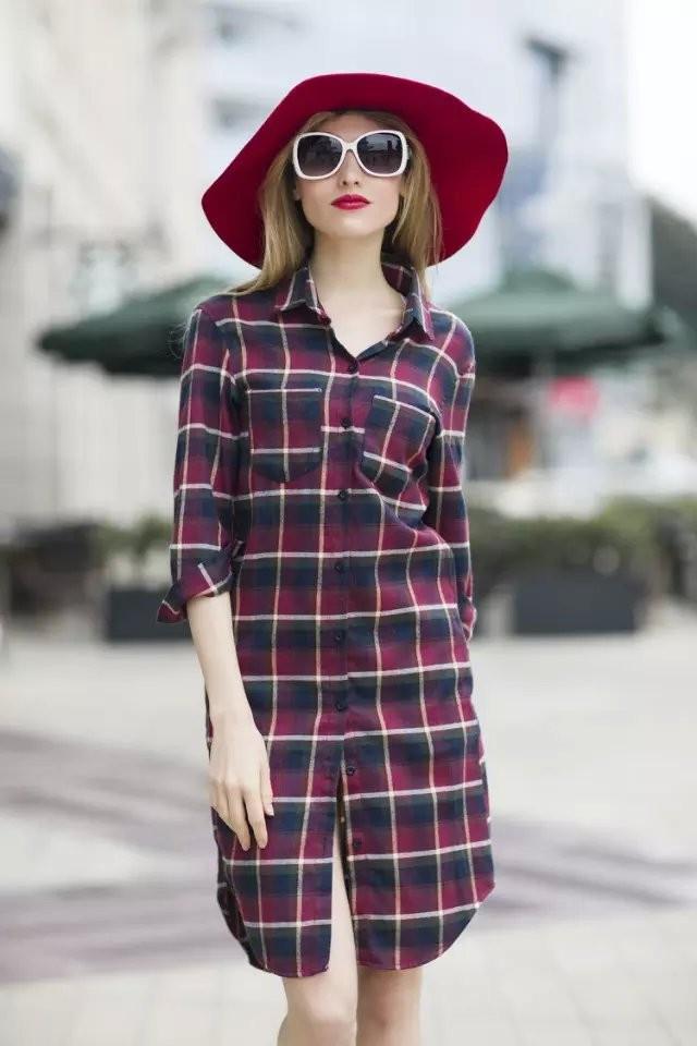 Стильное платье рубашка в клетку  продажа ed56b943a127f