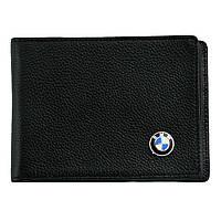 Кожаный бумажник двойного сложения с эмблемой BMW, фото 1