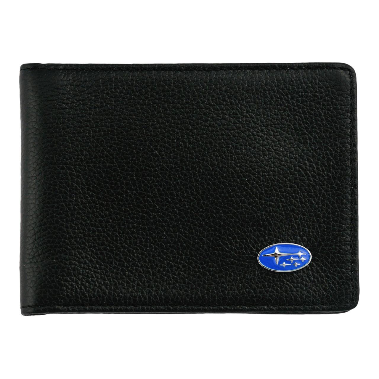 Кожаный бумажник двойного сложения с эмблемой SUBARU
