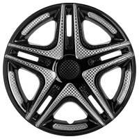 Колпаки на колеса R15 черные + карбон, Star Dacar Super Black (2801) - комплект (4 шт.)