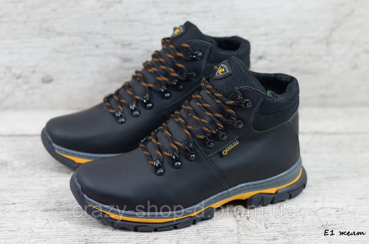 Мужские кожаные зимние ботинки Ecco (Реплика) (Код: E1 желт  ) ►Размеры [40,41,42,43,44,45]