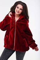 Женский стильный полушубок с капюшоном красного цвета батал