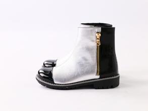 Демисезонные кожаные ботиночки, черный с серебром