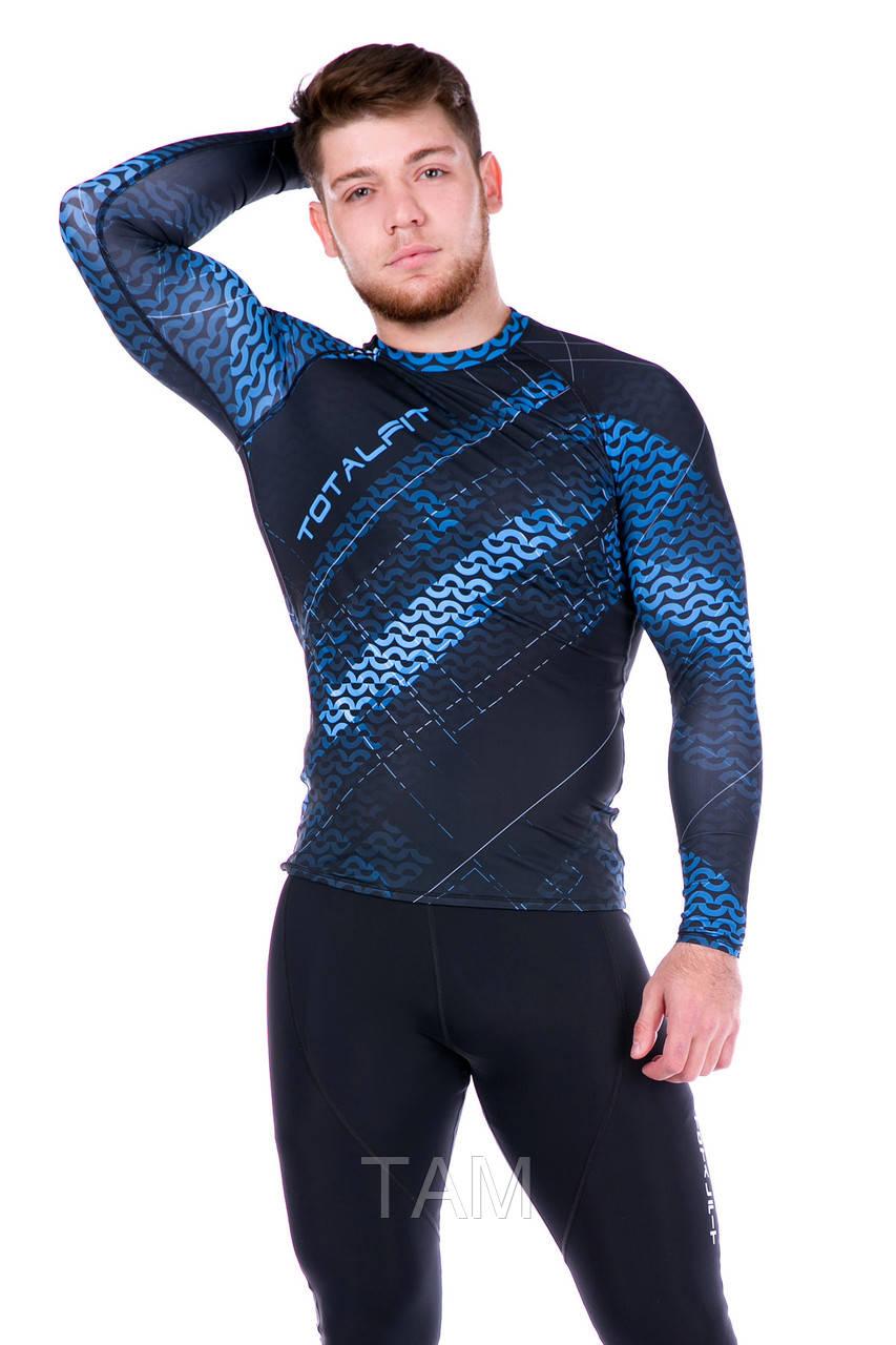 Рашгард мужской с длинным рукавом  + Totalfit RM312 XL синий с черным