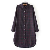 Платье рубашка в клетку,4 цвета