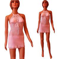 """Бело - молочоне вязаное крючком пляжное платье с ажурным принтом """"сеточка"""", ручной работы"""