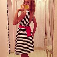 Платье в полоску без рукав с полуоткрытой спиной