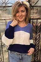 Полосатый пуловер с косой LUREX - синий цвет, L (есть размеры)