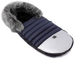 Зимний конверт Bair Polar premium  темно-синий - серебро кожа