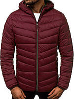 Мужская короткая стеганая куртка демисезон с капюшоном, бордовая, фото 1