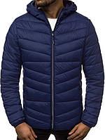 Мужская короткая стеганая куртка демисезон с капюшоном, синяя, фото 1
