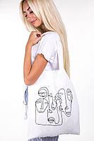 Женская эко-сумка, городская сумка-шоппер Тканева сумка для покупок  Белая