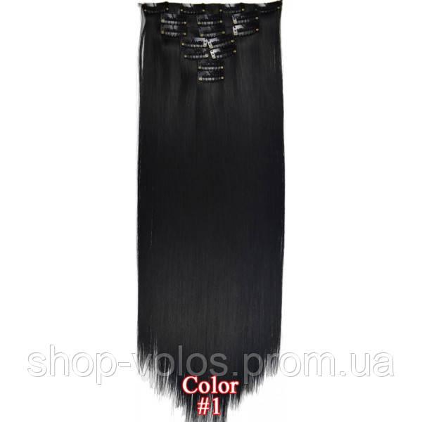 Накладные волосы на заколках термо Набор тресс 7 шт № 1 черный
