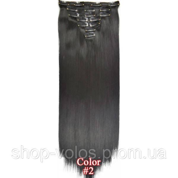 Накладные волосы на заколках термо  Набор тресс 7 шт № 2 черно-коричневый