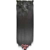Накладные волосы на заколках термо  Набор тресс 7 шт № 2 черно-коричневый, фото 1