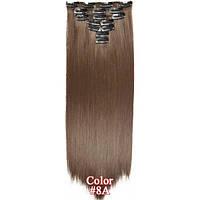 Накладные волосы на заколках термо  Набор тресс 7 шт № 8 темно-русый