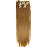Накладные волосы на заколках термо  Набор тресс 7 шт № 27 рыжий, фото 1