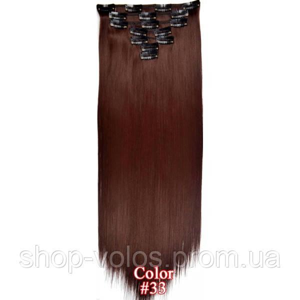 Накладные волосы на заколках термо  Набор тресс 7 шт № 33 бордовый