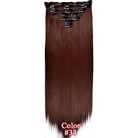 Накладные волосы на заколках термо  Набор тресс 7 шт № 33 бордовый, фото 1