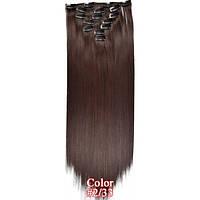 Накладные волосы на заколках термо  Набор тресс 7 шт № 2-33 коричнево-бордовый, фото 1