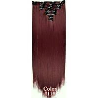 Накладные волосы на заколках термо  Набор тресс 7 шт № 118 ярко-вишневый