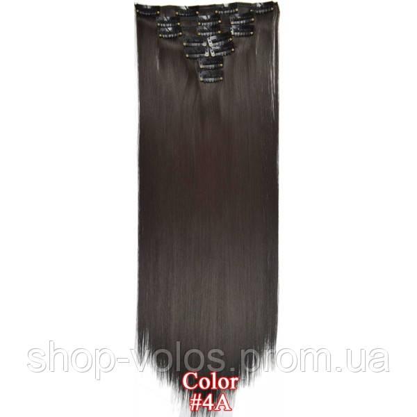 Накладные волосы на заколках термо  Набор тресс 7 шт № 4A темно-коричневый