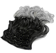 Накладные волосы на заколках термо Набор тресс 7 шт № 1тSilverGreyK