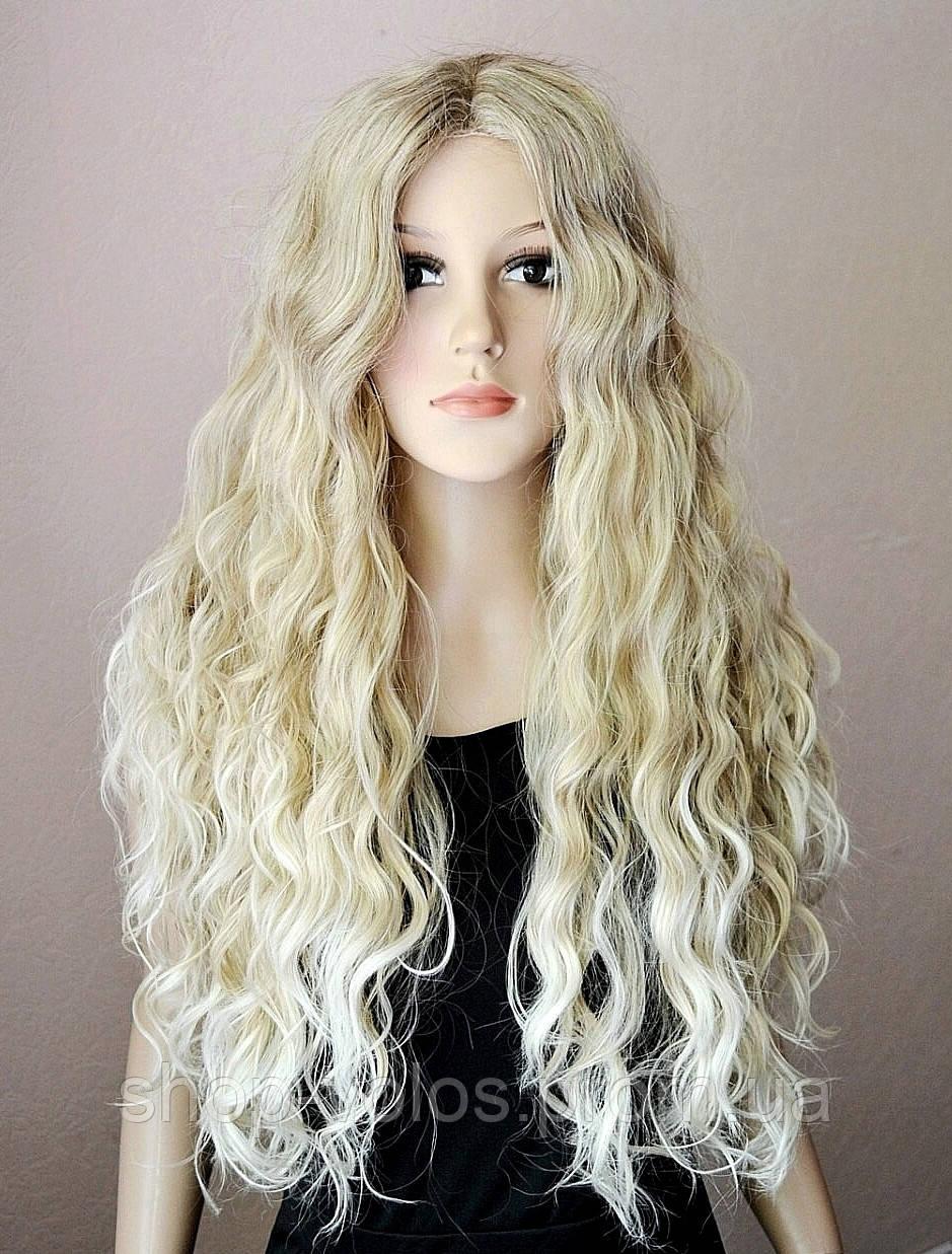 Парик № 80 с имитацией кожи, цвет: пшеничный мелированный блонд, длина 72см