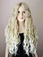 Парик № 80 с имитацией кожи, цвет: пшеничный мелированный блонд, длина 72см, фото 1