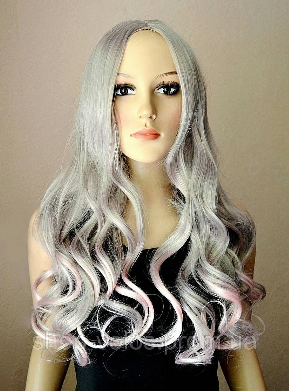 Розовый парик омбре с имитацией кожи № 75 цвет: пепельно-розовый, длина 60см
