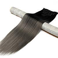 Накладные волосы на заколках термо Набор тресс 7 шт № 1тDarkGrey