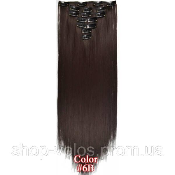 Накладные волосы на заколках термо  Набор тресс 7 шт № 6B коричневый