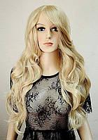 Парик № 40 с имитацией кожи, цвет: пшеничный мелированный блонд, длина 63см, фото 1