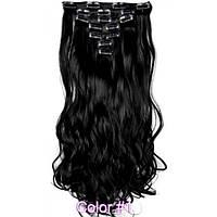 Накладные волосы на заколках термо  Набор тресс 7 шт № 1k черный