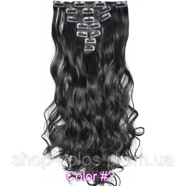 Накладные волосы на заколках термо  Набор тресс 7 шт № 2k черно-коричневый