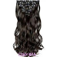 Накладные волосы на заколках термо  Набор тресс 7 шт № 4Аk темно-коричневый