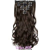 Накладные волосы на заколках термо  Набор тресс 7 шт № 6Bk коричневый