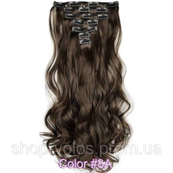 Накладные волосы на заколках термо  Набор тресс 7 шт № 8Ak темно-русый