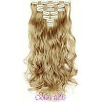 Накладные волосы на заколках термо  Набор тресс 7 шт № 25k пшеничный