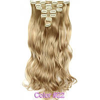 Накладные волосы на заколках термо  набор тресс 7 шт № 22k пшенично-пепельный