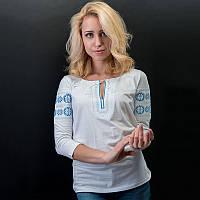 """Женская вышитая футболка на длинный рукав: """"Весна синяя"""", (белая)"""