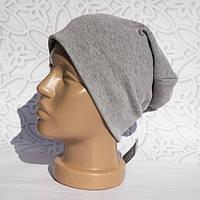 Шапка женская трикотажная однотонная легкая, светло серая, шапка Бини