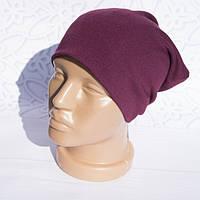 Шапка женская трикотажная однотонная легкая, бордовая, шапка Бини
