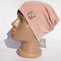 Шапка женская трикотажная однотонная нашивка FF легкая, Розовая, шапка Бини FF