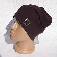 Шапка женская трикотажная однотонная нашивка FF легкая, Коричневая, шапка Бини FF