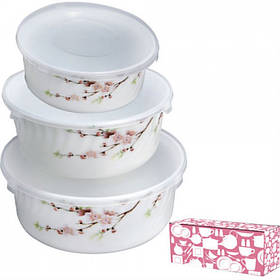 Набор салатников S&T Японская Вишня с крышками 3 штуки
