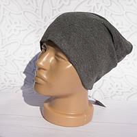 Шапка женская трикотажная однотонная стразы, легкая, Серый, шапка Бини в стразах