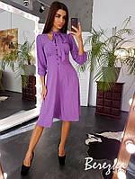 Элегантное платье миди с модным аксессуаром ввиде шарфика