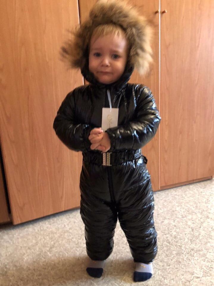 Комбинезон детский зимний, лакированная плащевка, утепленный на синтепоне 200+ подкладка флис махра, фото 1