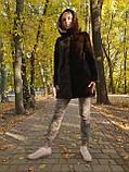 Жіноча норкова шуба з капюшоном в кольорі махагон (коричнева) розміри норма, фото 2